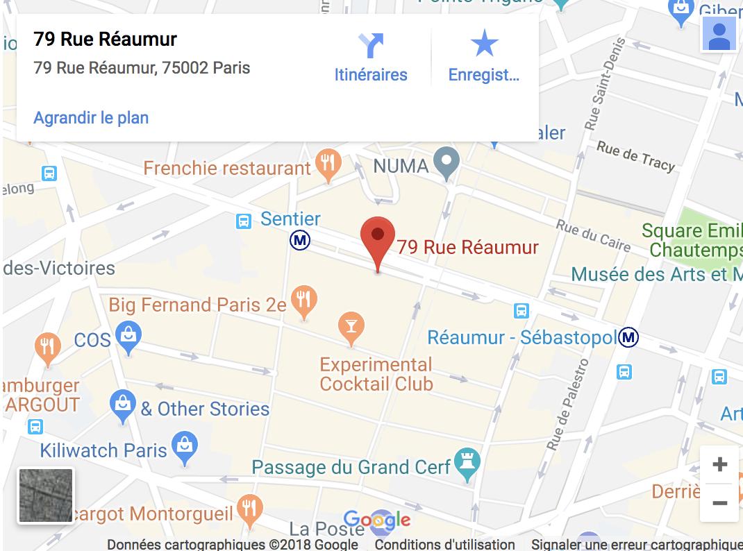 Adresse Google Map 79 rue reaumur 75002 Paris electrostimulation montorgueil paris sentier